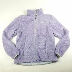 Womens North Face Light Purple Fuzzy Zip Up Jacket